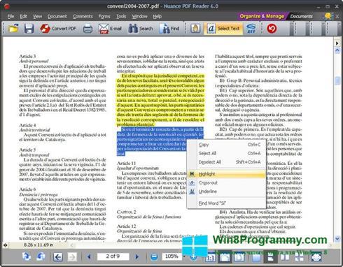 Скриншот программы Nuance PDF Reader для Windows 8