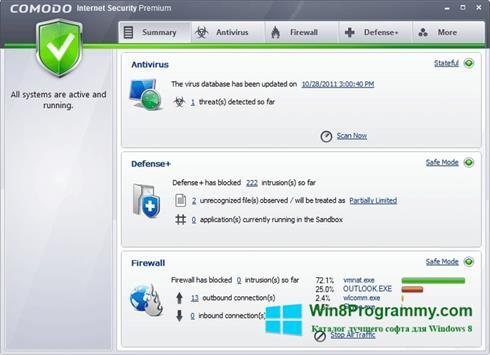 Скриншот программы Comodo Internet Security Premium для Windows 8
