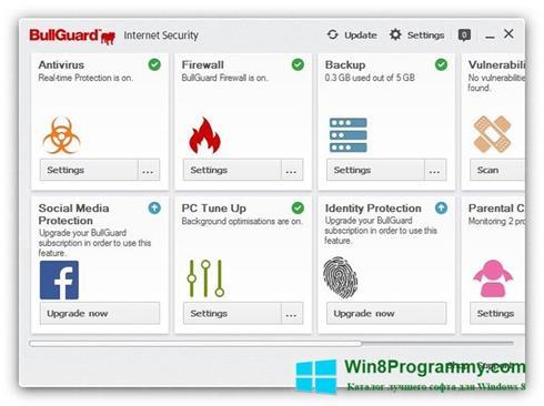 Скриншот программы BullGuard Internet Security для Windows 8