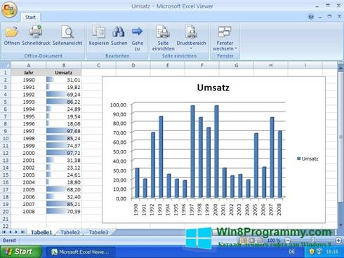 Скриншот программы Excel Viewer для Windows 8