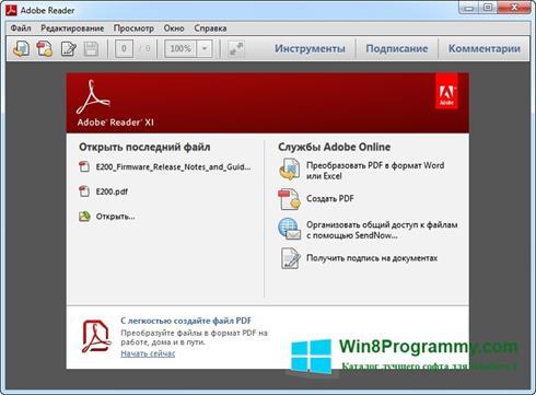 Скриншот программы Adobe Reader для Windows 8