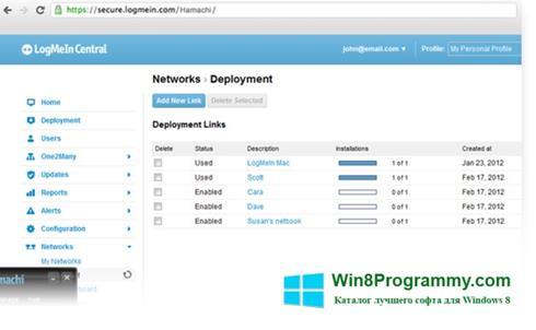 Скриншот программы Hamachi для Windows 8
