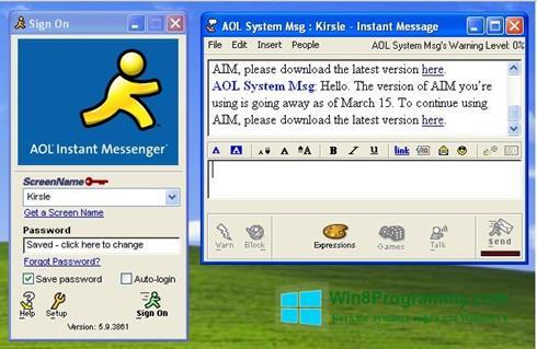 Скриншот программы AOL Instant Messenger для Windows 8