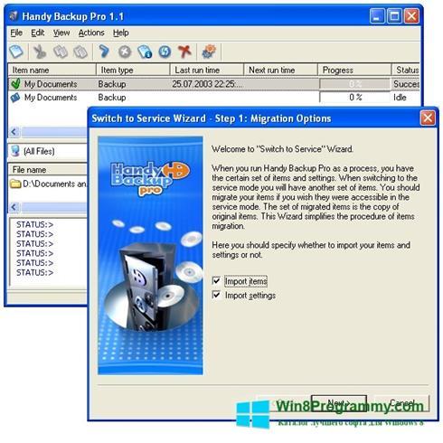 Скриншот программы Handy Backup для Windows 8