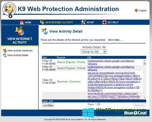 Скриншот программы K9 Web Protection для Windows 8
