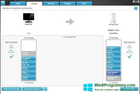 Скриншот программы WD SmartWare для Windows 8