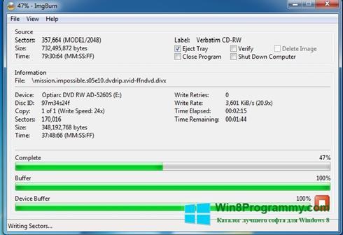 Скриншот программы ImgBurn для Windows 8