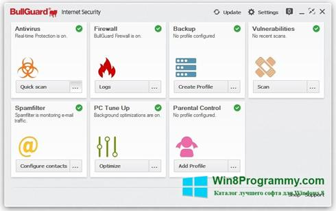 Скриншот программы BullGuard для Windows 8