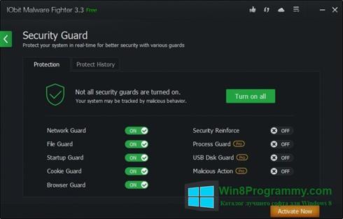 Скриншот программы IObit Malware Fighter для Windows 8