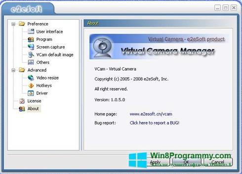 Скриншот программы VCam для Windows 8