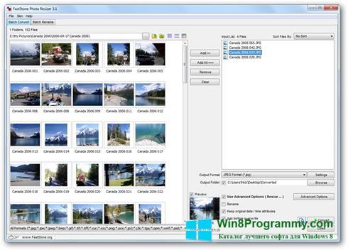 Скриншот программы FastStone Photo Resizer для Windows 8