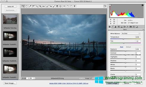 Скриншот программы Adobe Camera Raw для Windows 8