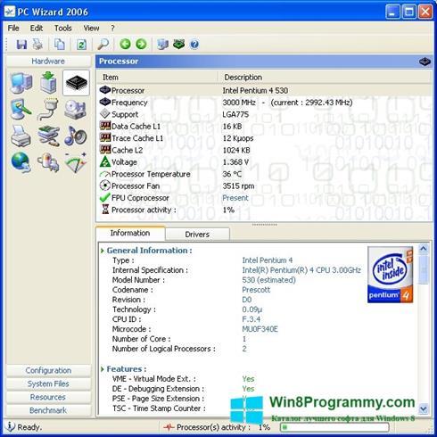 Скриншот программы PC Wizard для Windows 8