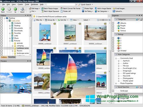 Скриншот программы ACDSee Photo Manager для Windows 8