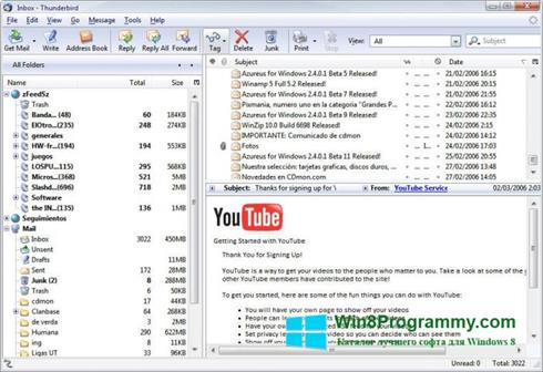 Скриншот программы Mozilla Thunderbird для Windows 8