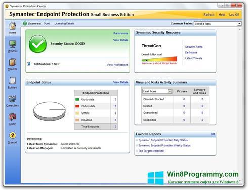 Скриншот программы Symantec Endpoint Protection для Windows 8