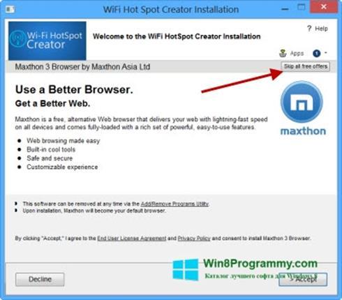 Скриншот программы Wi-Fi HotSpot Creator для Windows 8
