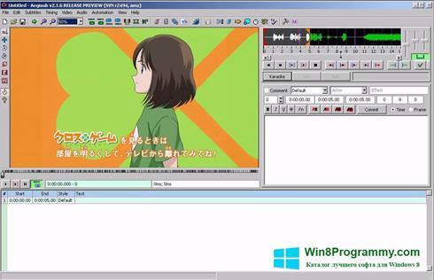 Скриншот программы Aegisub для Windows 8