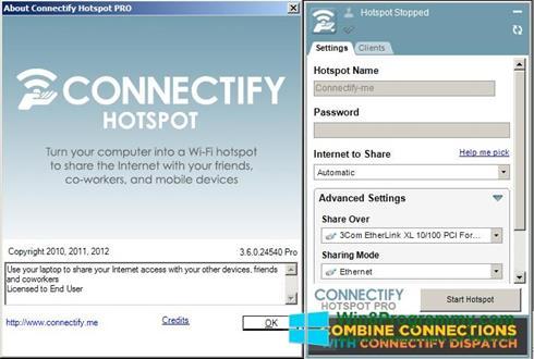Скриншот программы Connectify Hotspot Pro для Windows 8