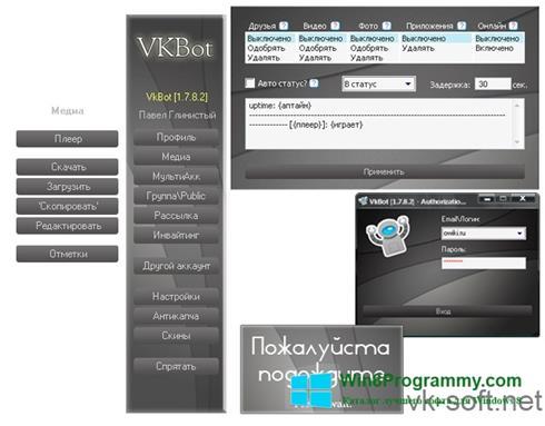 Скриншот программы VkBot для Windows 8