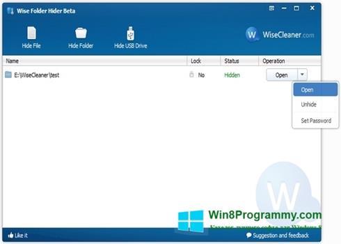 Скриншот программы Wise Folder Hider для Windows 8