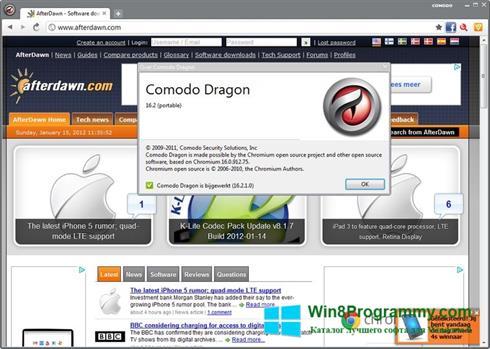 Скриншот программы Comodo Dragon для Windows 8