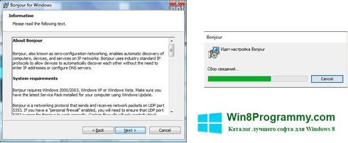 Скриншот программы Bonjour для Windows 8
