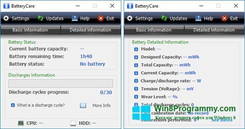Скриншот программы BatteryCare для Windows 8