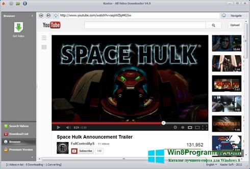 Скриншот программы Kastor All Video Downloader для Windows 8