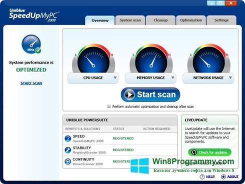 Скриншот программы SpeedUpMyPC для Windows 8