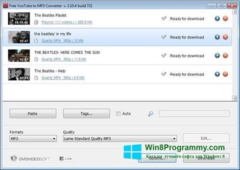 Скриншот программы Free YouTube to MP3 Converter для Windows 8