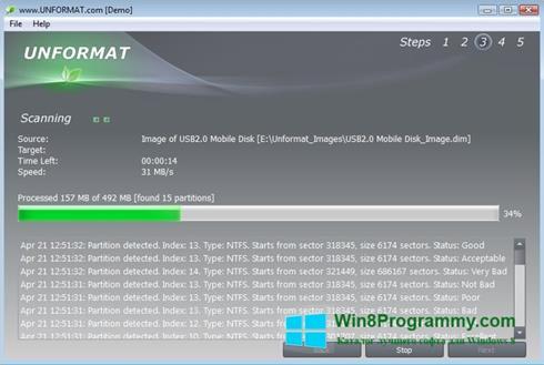 Скриншот программы UNFORMAT для Windows 8