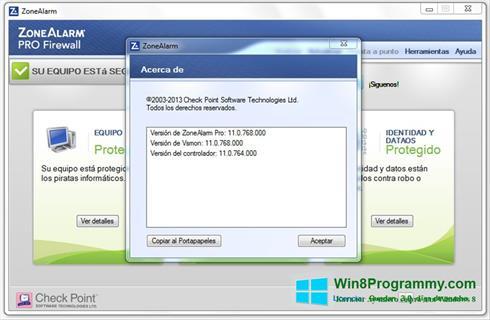 Скриншот программы ZoneAlarm для Windows 8