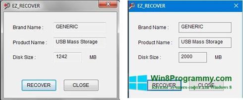 Скриншот программы EzRecover для Windows 8