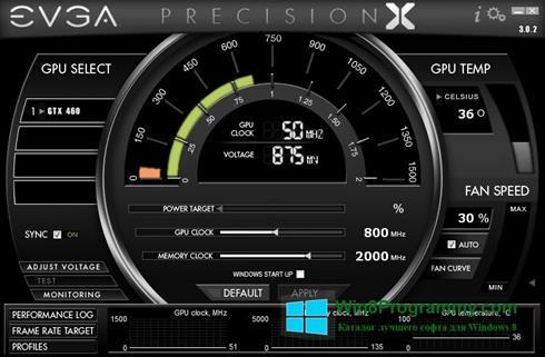 Скриншот программы EVGA Precision X для Windows 8