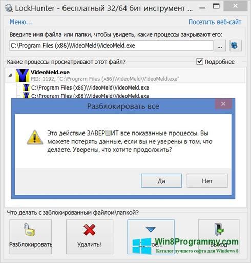 Скриншот программы LockHunter для Windows 8