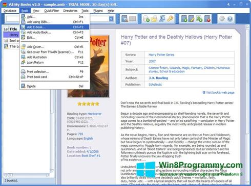 Скриншот программы All My Books для Windows 8