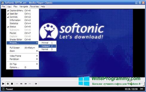 Скриншот программы Media Player Classic для Windows 8