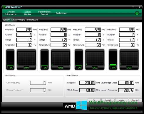 Скриншот программы AMD Overdrive для Windows 8