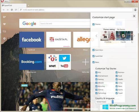 Скриншот программы Opera Developer для Windows 8