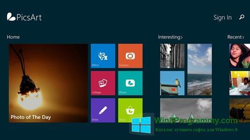 Скриншот программы PicsArt для Windows 8