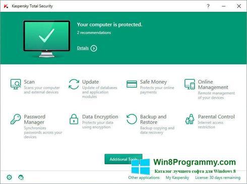 Скриншот программы Kaspersky Total Security для Windows 8