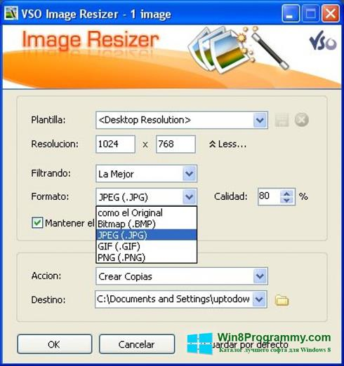 Скриншот программы VSO Image Resizer для Windows 8