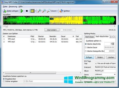 Скриншот программы MP3 Cutter для Windows 8