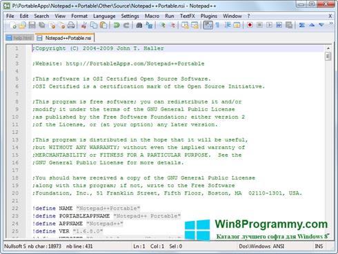 Скриншот программы Notepad для Windows 8