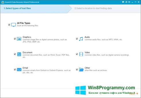 Скриншот программы EASEUS Data Recovery Wizard для Windows 8