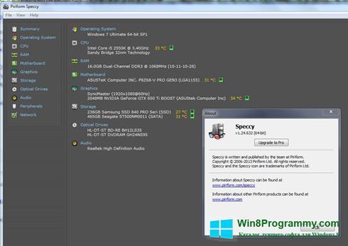 Скриншот программы Speccy для Windows 8