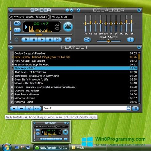 Скриншот программы Spider Player для Windows 8