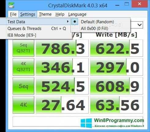 Скриншот программы CrystalDiskMark для Windows 8