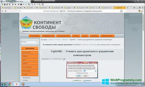 Скриншот программы TightVNC для Windows 8